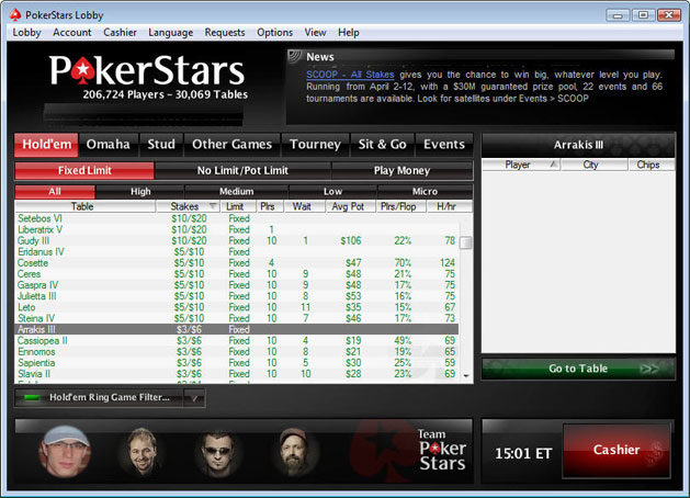PokerStars Software Menu